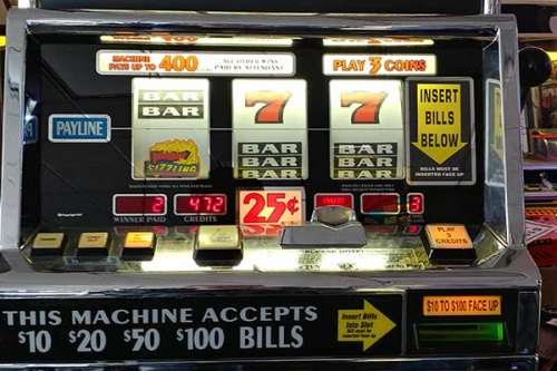 Slot machine showing coin section
