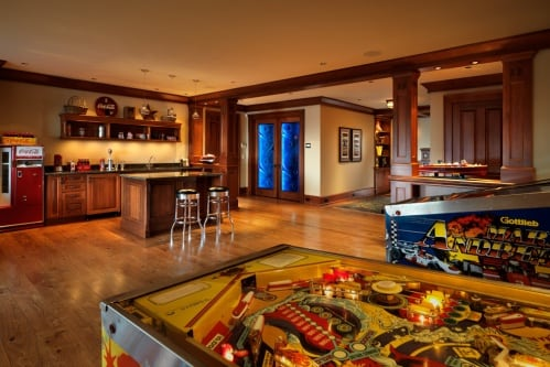 Man cave with pinball machine