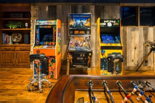 Video arcades in a basement